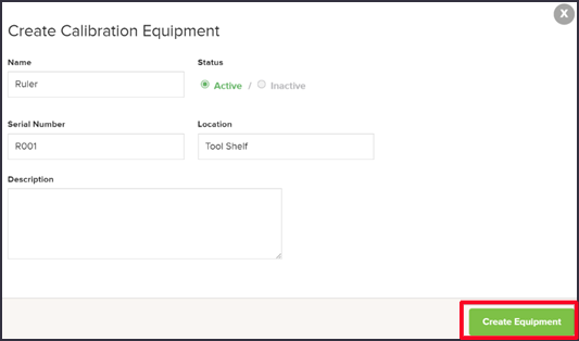 Add Calibration Tools - Create Equipment - Quality Management Software
