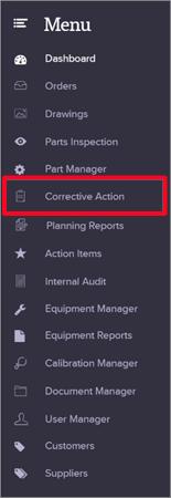corrective-action-report-menu-quality-management-software