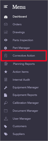 Create Corrective Action Report From Scratch - Menu - Quality Management Software