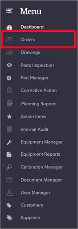Create Work Order - Menu - Quality Management Software