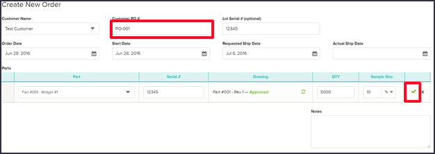 Create Work Order - Order Info - Quality Management Software