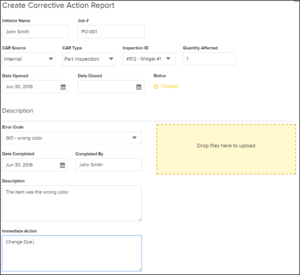 Create Corrective Action Reports Fill Out Information for Car Quality Management Software