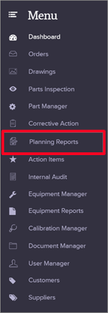 Create Planning Reports Menu Quality Management Software
